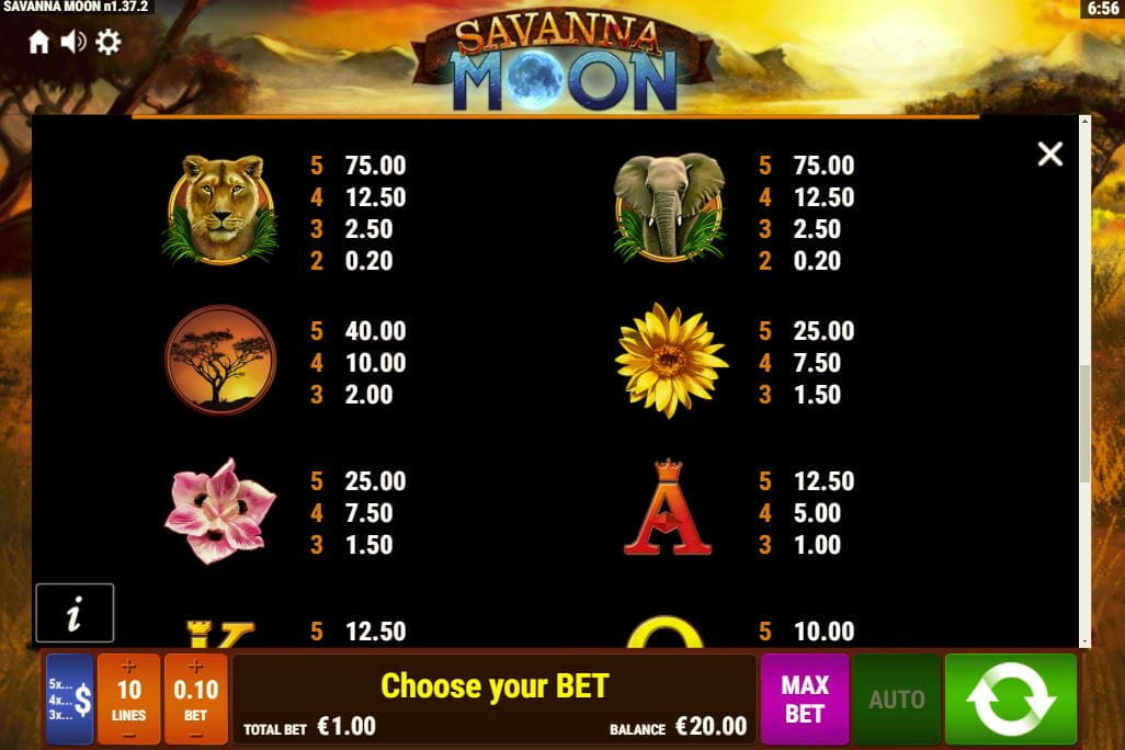 Savanna Moon Paytable