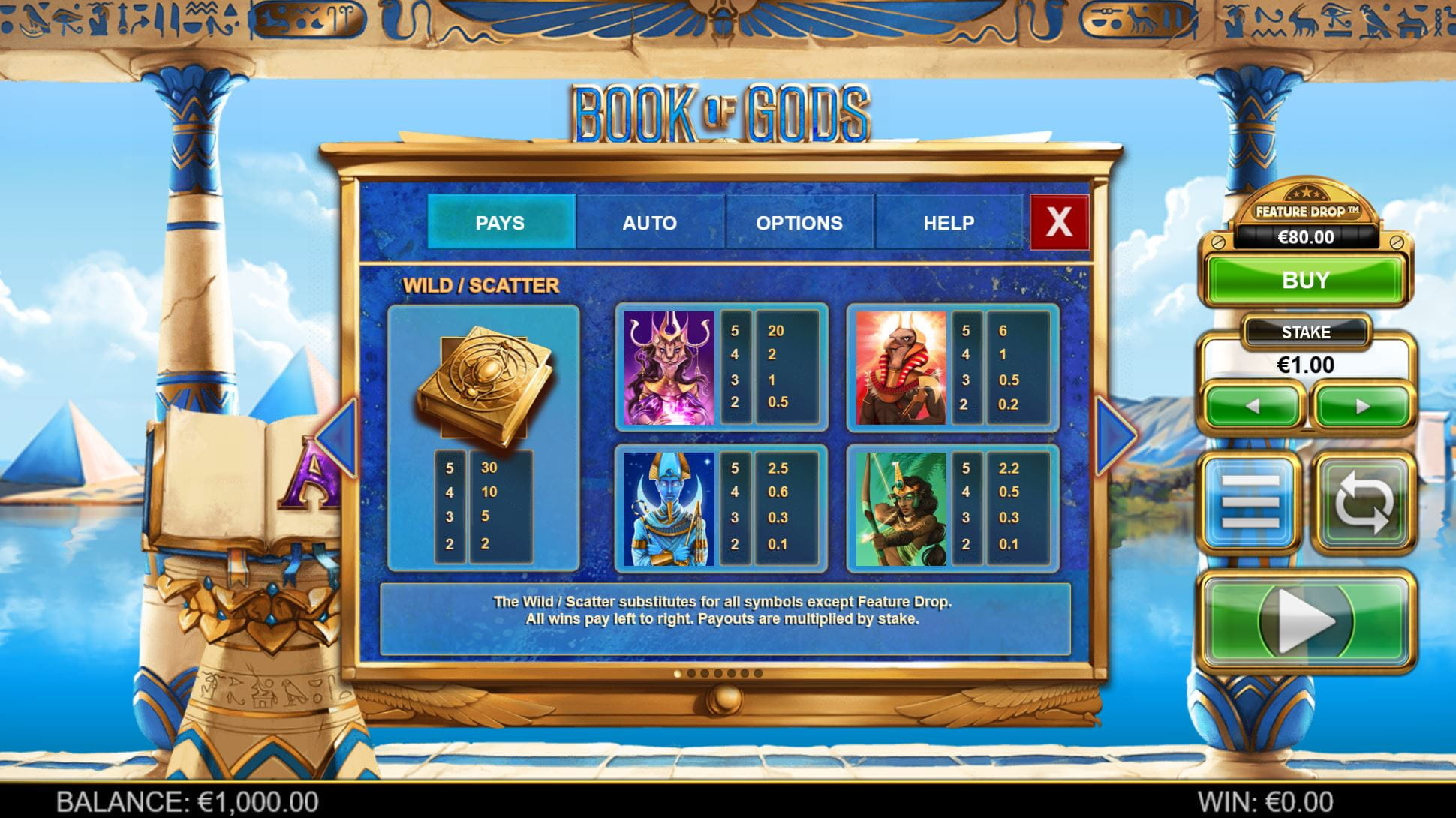 Book of Gods Online Paytable