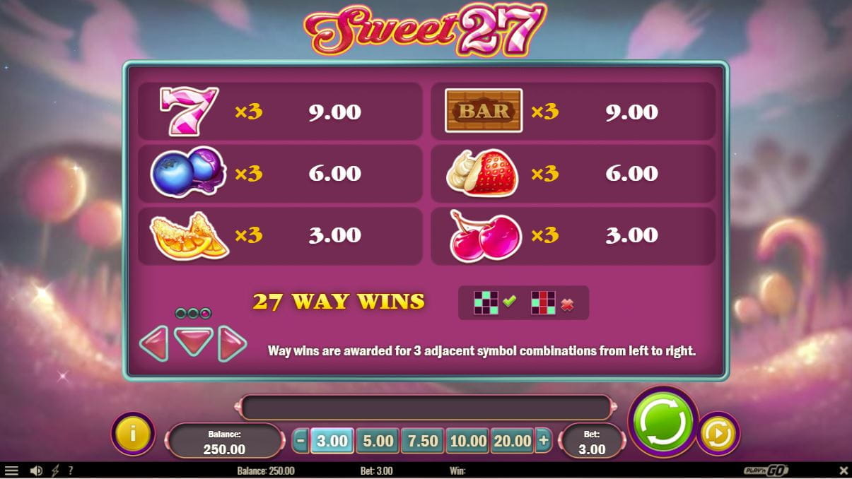 Sweet 27 Paytable